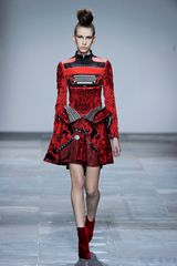 Mary Katrantzou Fall 2012 Typewriter Print Peplum Dress in Red - Lyst