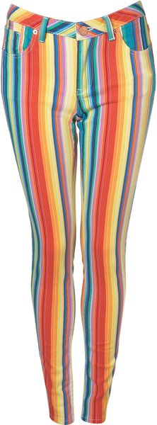 Moto Stripe Jamie Jeans in Multicolor (multi) - Lyst