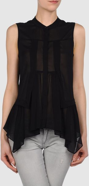 Stefanel Sleeveless Shirt - Lyst