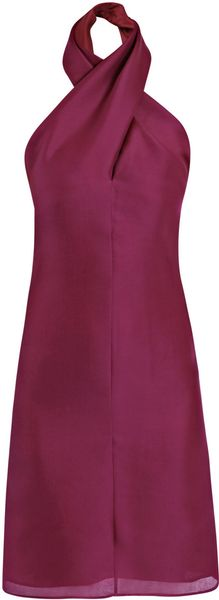Yves Saint Laurent Double Layer Halterneck Dress in Purple (cherry) - Lyst