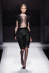 Alberta Ferretti Fall 2012 Woven Pencil Skirt  in Black - Lyst