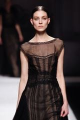 Alberta Ferretti Fall 2012 Ruffle Detail Lace Evening Gown  in Black - Lyst
