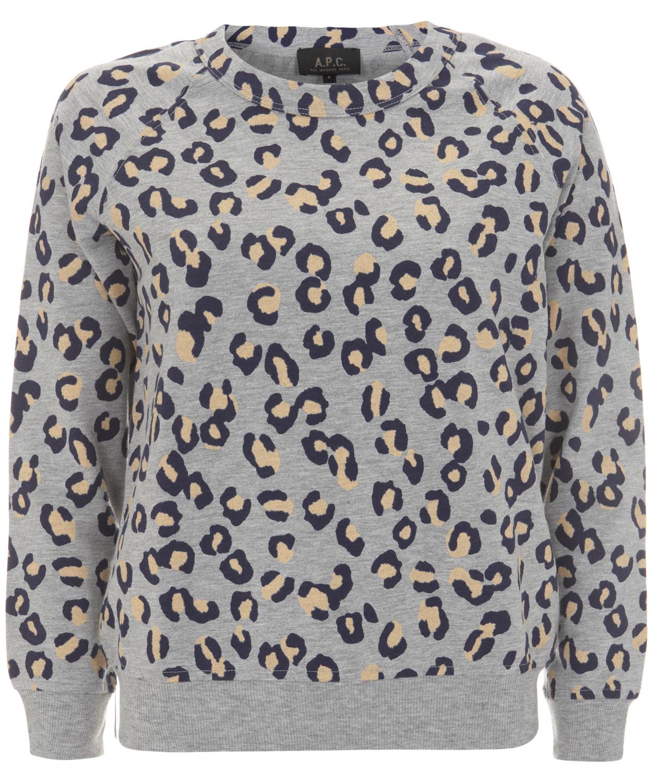 27c00e003 A.P.C. Grey Jersey Leopard Print Jumper in Gray - Lyst