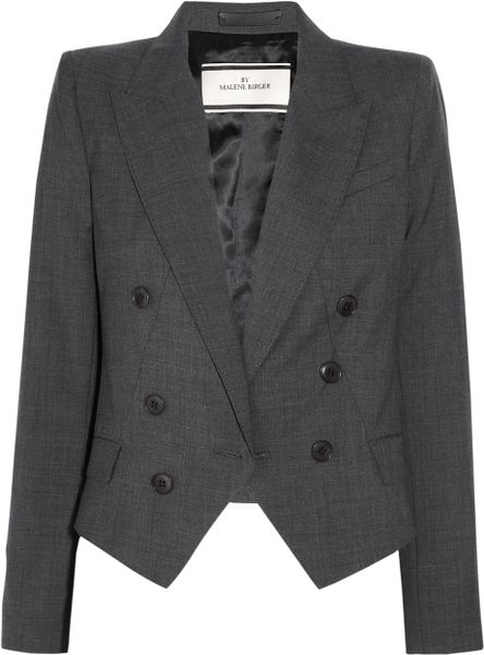 By Malene Birger Woolblend Twill Jacket in Gray - Lyst