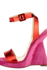 Christian Louboutin Djaldos 120 Leather And Suede Wedge Sandals in Pink (turquoise) - Lyst