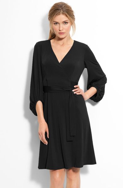 Donna Ricco Bloused Sleeve Faux Wrap Dress in Black - Lyst