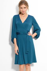 Donna Ricco Bloused Sleeve Faux Wrap Dress - Lyst