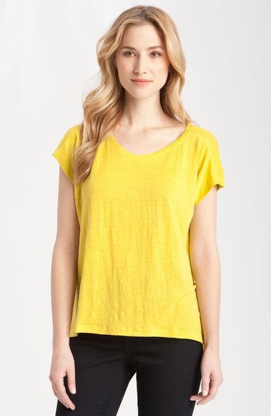 Eileen Fisher Box Pleat Linen Jersey Tee in Yellow (citrus) - Lyst