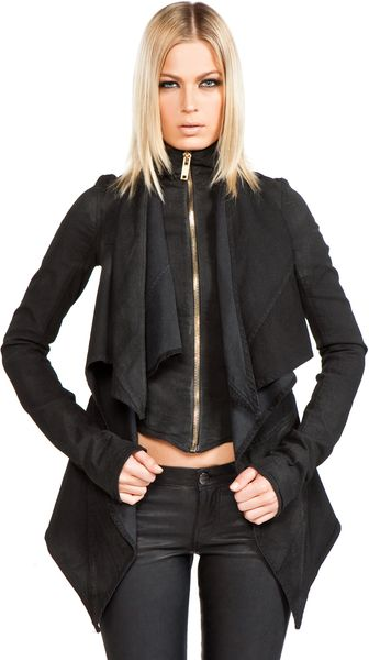 Gareth Pugh Denim Jacket with Chiffon in Black - Lyst