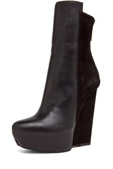 Gareth Pugh Leather/suede Wedge in Black - Lyst