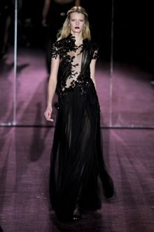 Gucci Fall 2012 Asymmetrical See-Through Embellished Evening Gown With Short Sleeve, Beading  And Layered Maxi Skirt  - Lyst