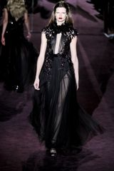 Gucci Fall 2012 Short Sleeve See-Through Embellished Evening Gown With Ruffled Collar, Deep Decolletage, Beading And Layered Skirt In Black  - Lyst
