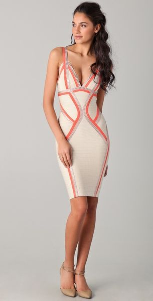 Hervé Léger Piped Bandage Dress in Pink - Lyst