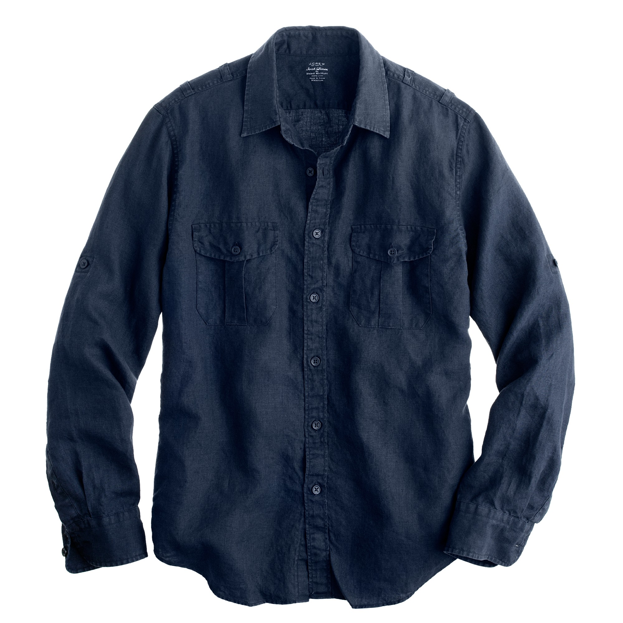 irish linen camp shirt in blue for men deep harbor