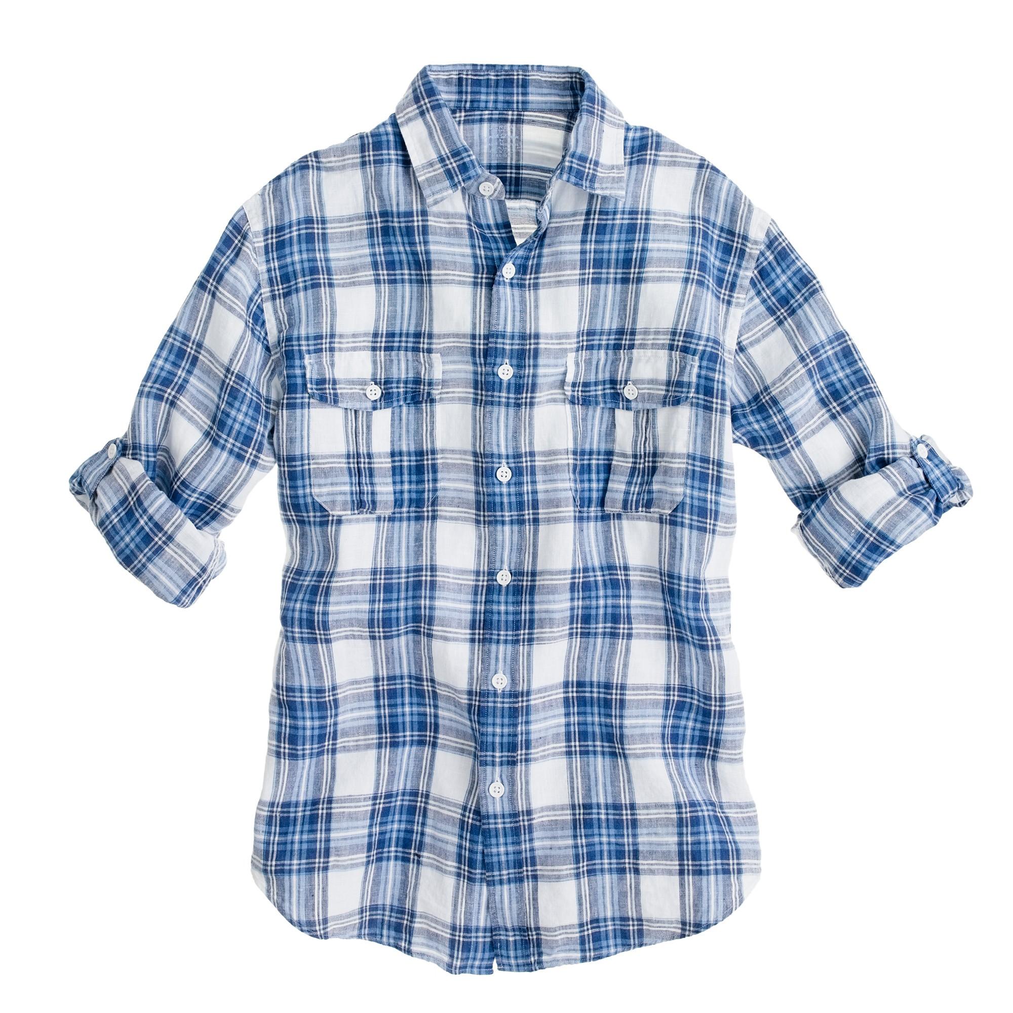Irish linen camp shirt in blue plaid in blue for for Irish linen dress shirts