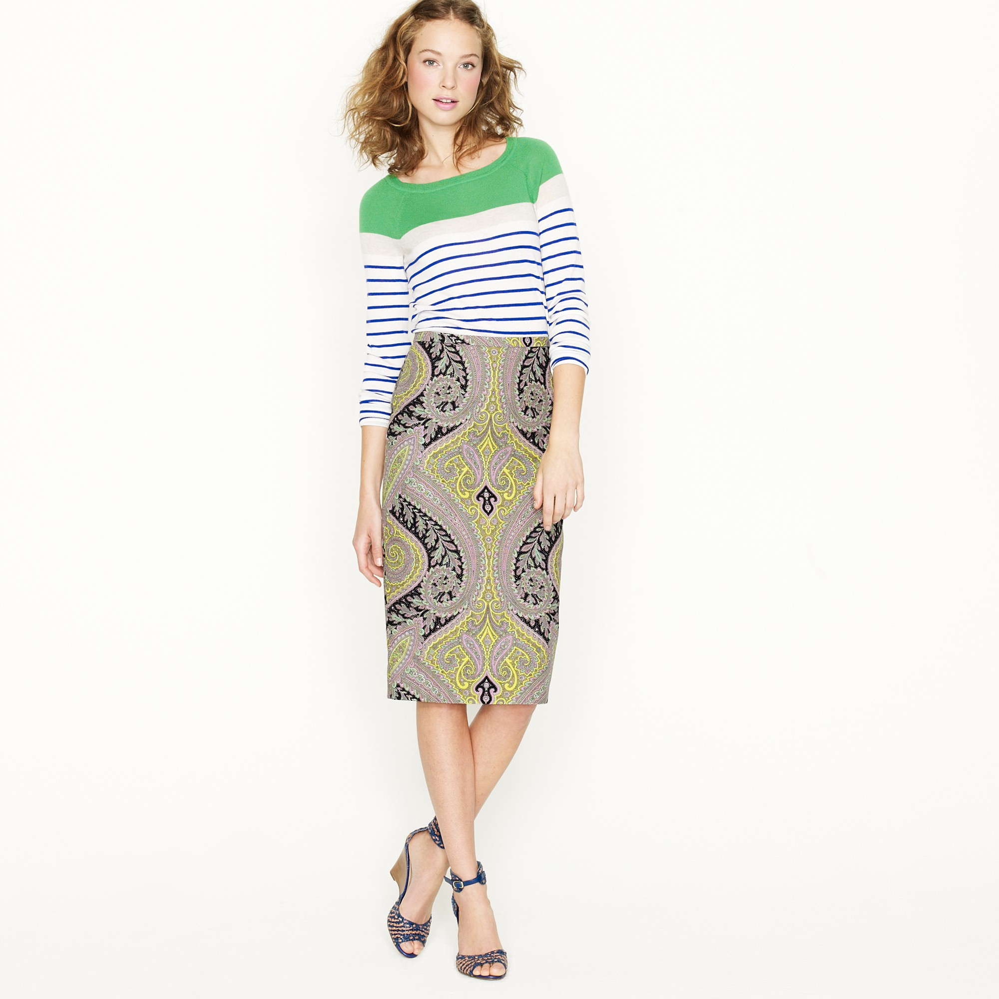 j crew no 2 pencil skirt in sovereign paisley in