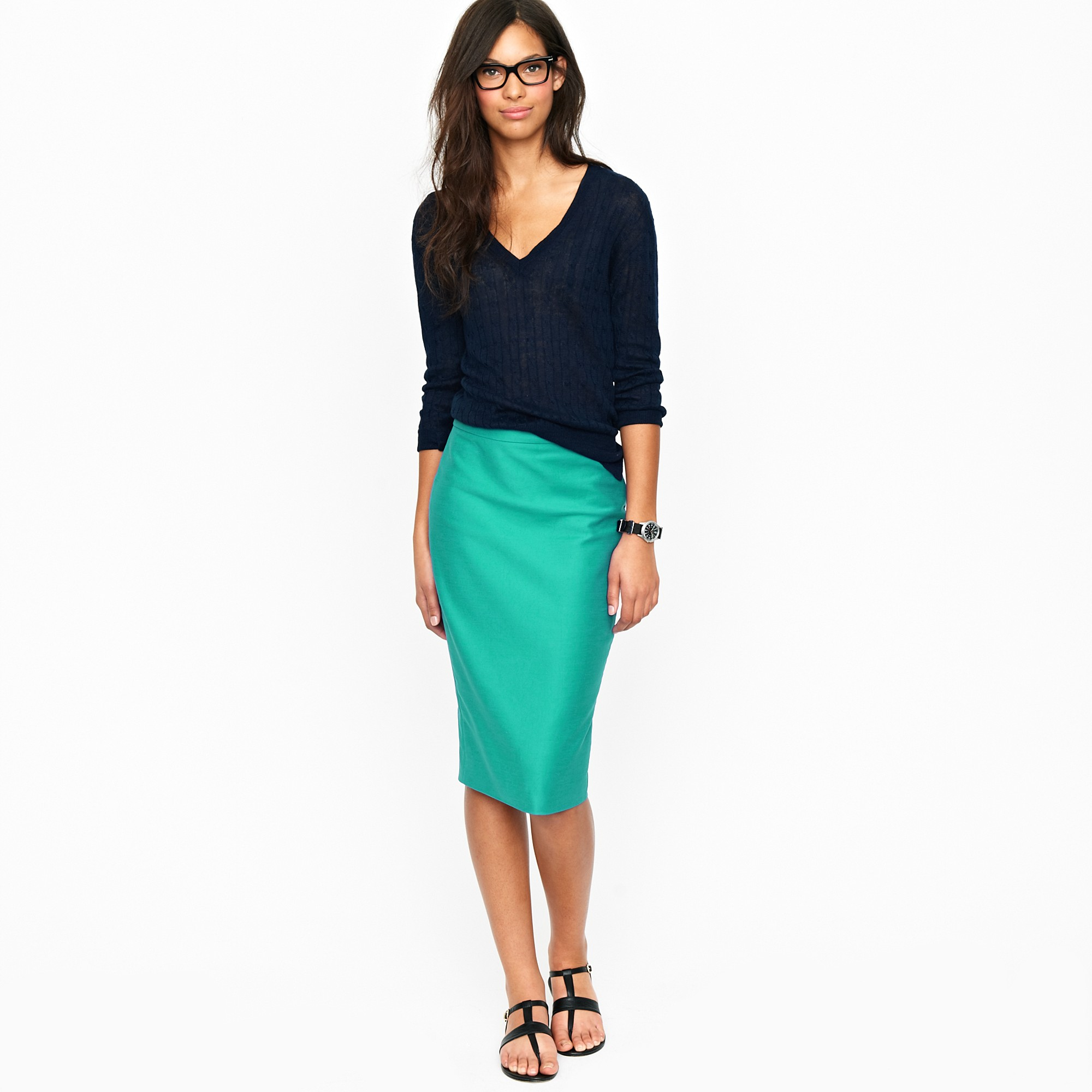 J.crew Long No. 2 Pencil Skirt in Double-serge Cotton in Green | Lyst