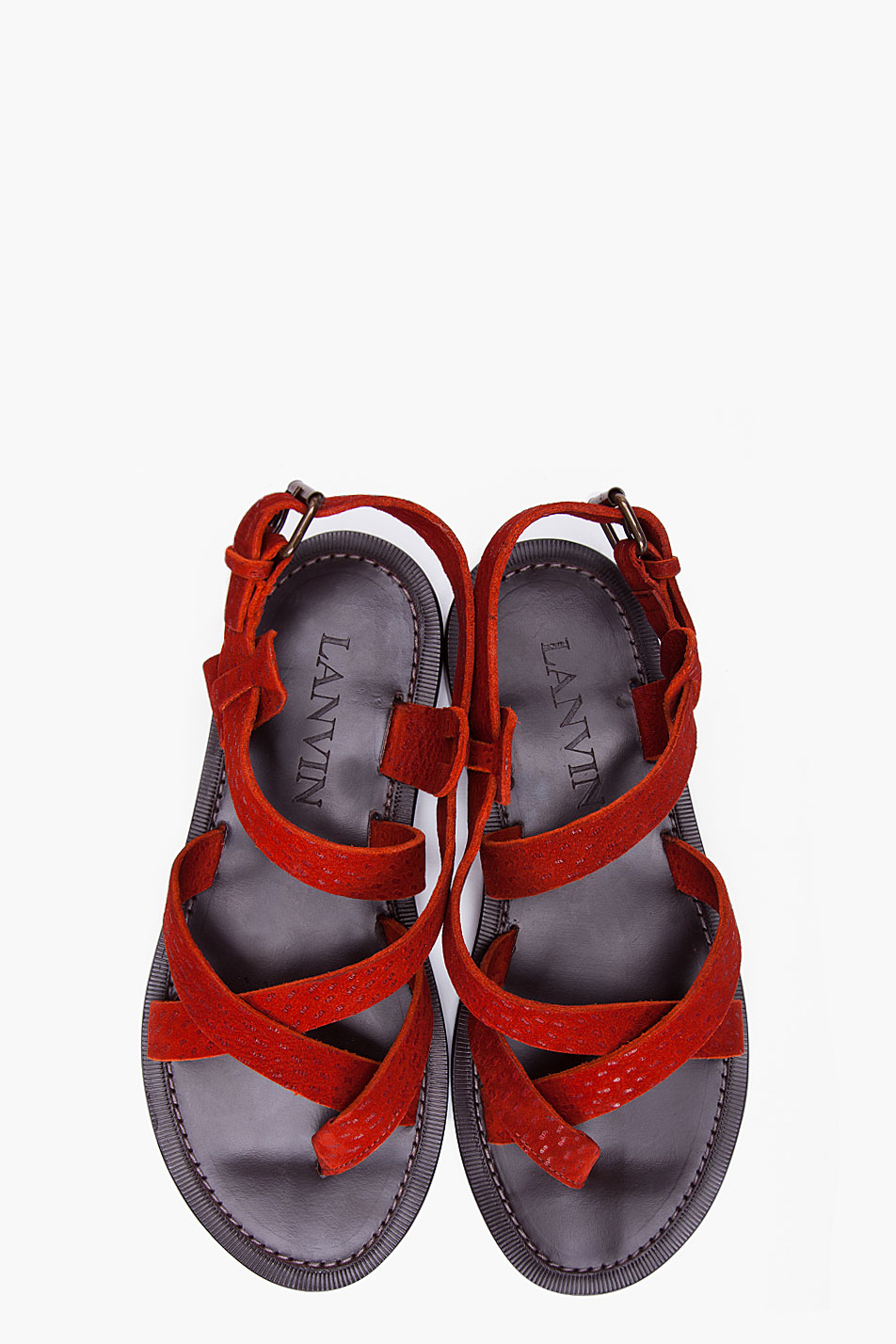 06b87776a1662 Lyst - Lanvin Rust Red Bride Sandals in Red for Men