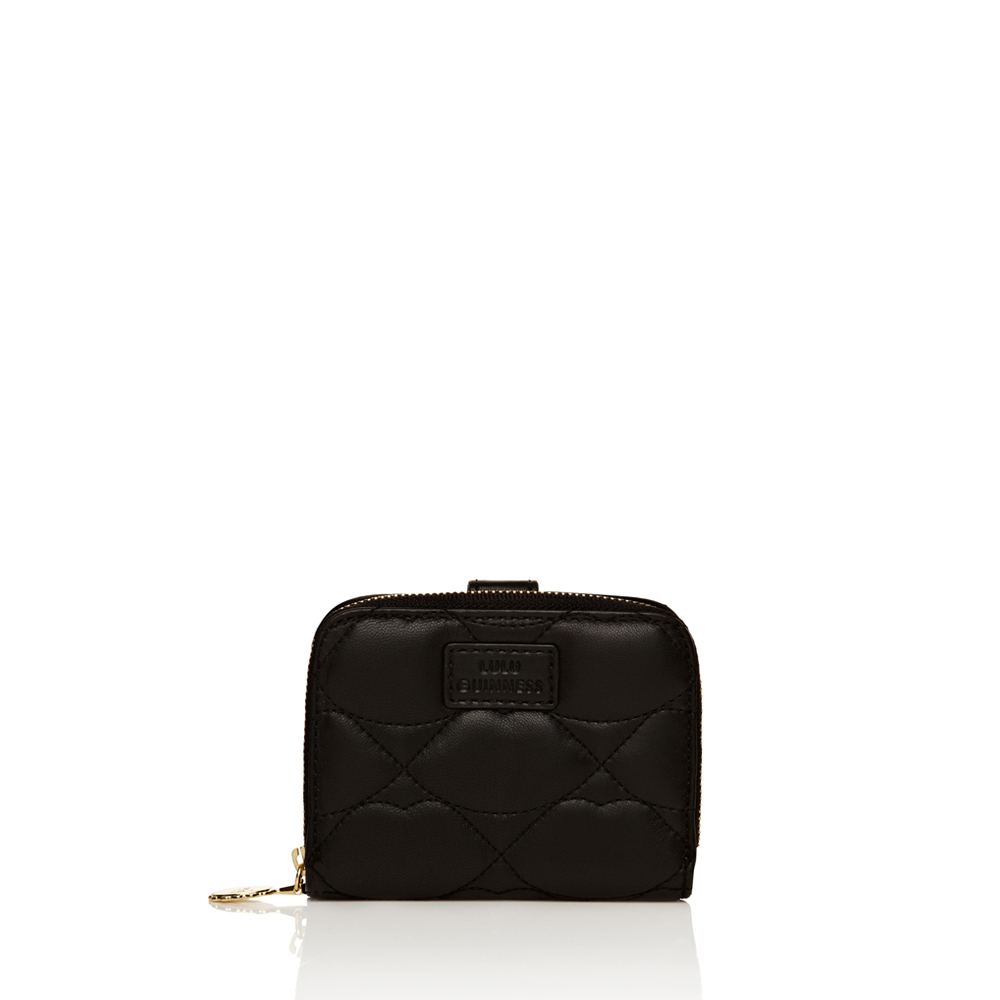 Lulu Guinness Black Quilted Lips Leather French Zip Purse