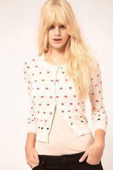 Mango Heart Cardigan in Black (cream) - Lyst