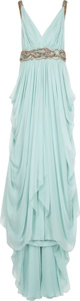 Marchesa Chiffon Embellished Grecian Gown in Blue (mint) - Lyst