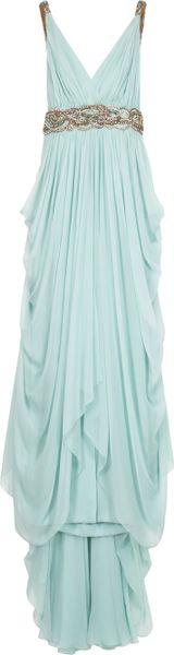 Marchesa Chiffon Embellished Grecian Gown in Blue (mint)