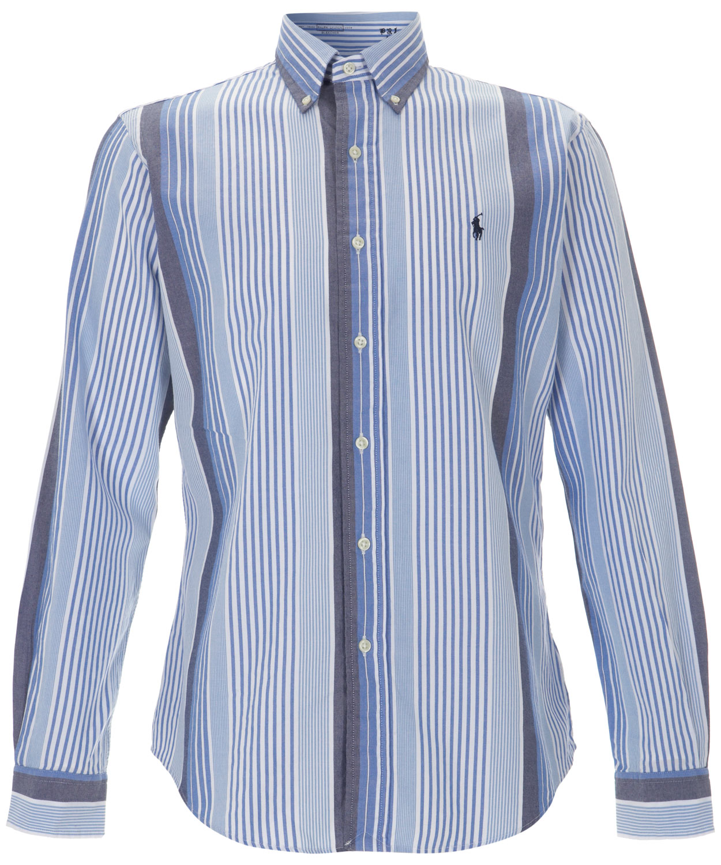 Polo ralph lauren blue stripe oxford shirt in blue for men for Mens blue oxford shirt