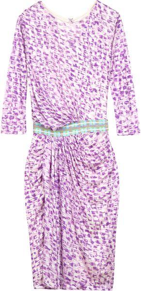 Saloni Alek Print Long Dress in Pink (black)