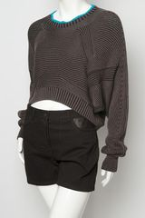 Alexander Wang BiColor Rib Shrug in Gray (black) - Lyst