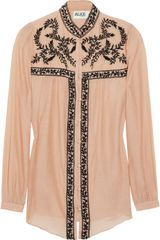 Alice By Temperley Rana Embroidered Cotton and Silk-blend Top - Lyst