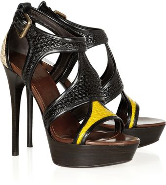 Burberry Prorsum Raffia and Patent-leather Sandals - Lyst