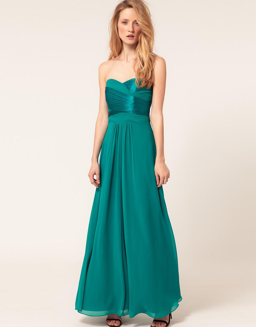 Lyst - Coast Coast Satin Maxi Dress with Pleat Detail in Blue