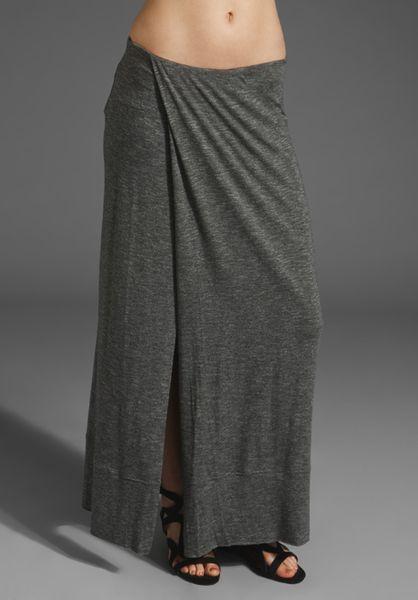 dolan t shirt split maxi skirt in gray lyst