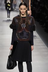 Fendi Fall 2012 Black Wool Sweater with Fur Details in Black - Lyst