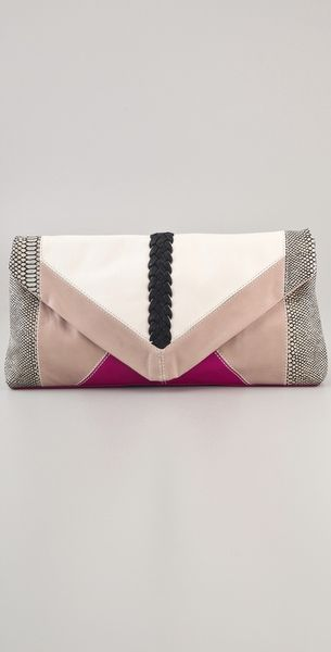 Foley + Corinna Oversized Patchwork Clutch in Pink (fuchsia) - Lyst