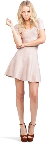 Hervé Léger Flare Skirt Dress in Bare in Pink (bare) - Lyst