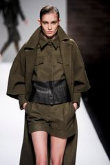 Max Mara Fall 2012 Long Wool Coat With Cropped Wide Sleeves In Khaki  in Khaki - Lyst
