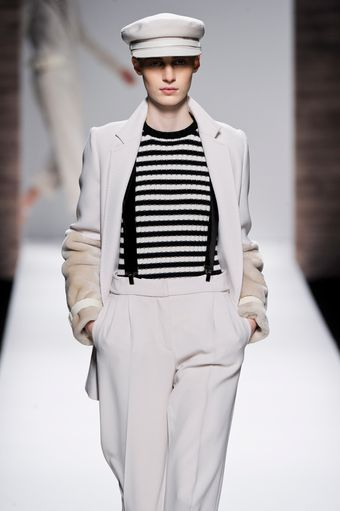 Max Mara Fall 2012 Black And White Stripy Crew Neck Sweater  - Lyst