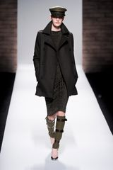Max Mara Fall 2012 Double Breasted Wool Military Style Coat With Pockets In Dark Grey in Black - Lyst