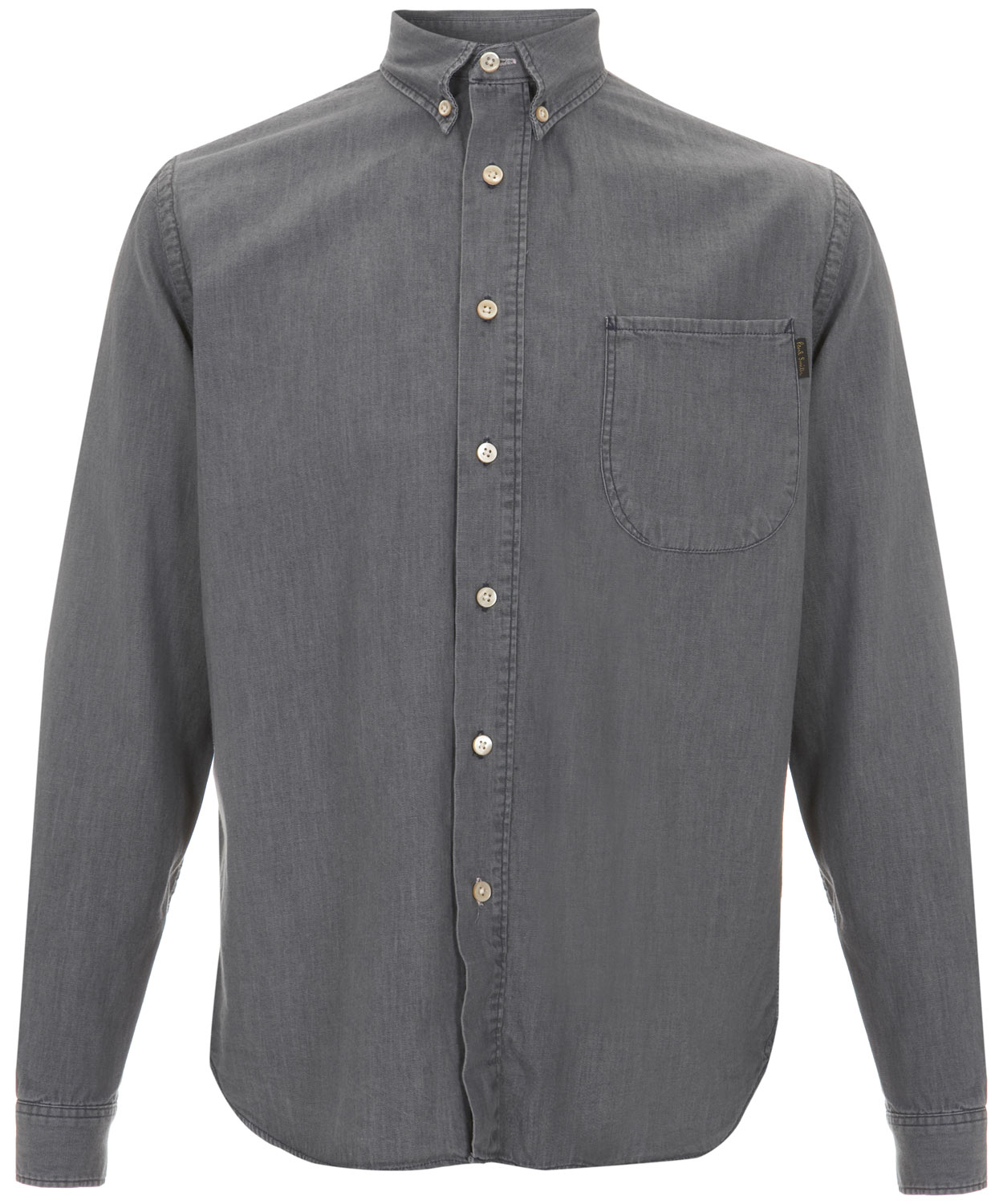 paul smith grey button down collar denim shirt in gray for