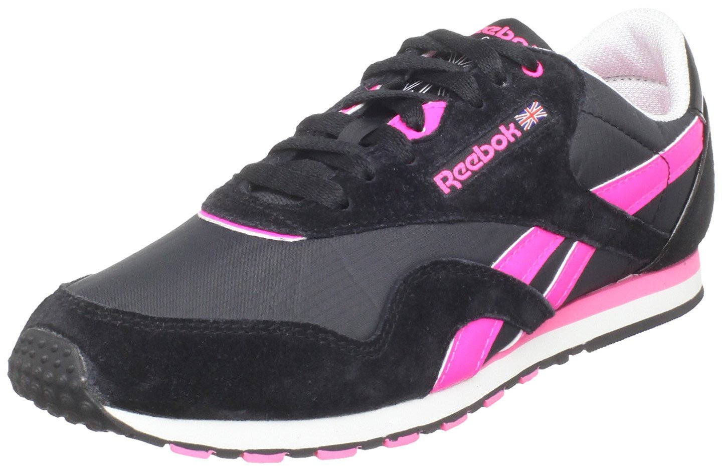 reebok classic nylon slim lace up fashion sneaker in black. Black Bedroom Furniture Sets. Home Design Ideas