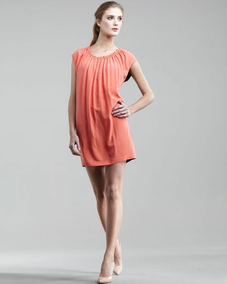Robert Rodriguez Twotone Tunic Dress in Orange (coral) - Lyst