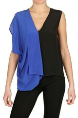 Space Bicolored Draped Silk Crepe Top - Lyst