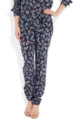 Stella Mccartney Christine Paisleyprint Silk Pants in Blue (navy) - Lyst