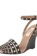 Valentino Superstud Wedge Sandal - Lyst
