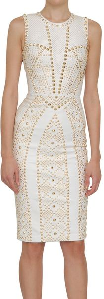 Versace All Over Studs Leather Dress - Lyst