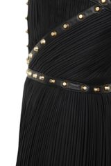 Versace Oneshoulder Pleated Dress with Studs in Black - Lyst