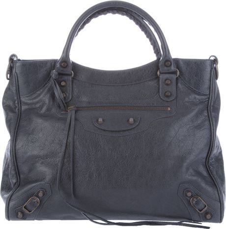 Balenciaga Classic Velo Shoulder Bag in Blue (grey) - Lyst