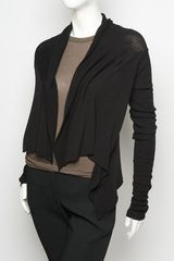 Rick Owens Mesh Knit Cardigan in Black - Lyst