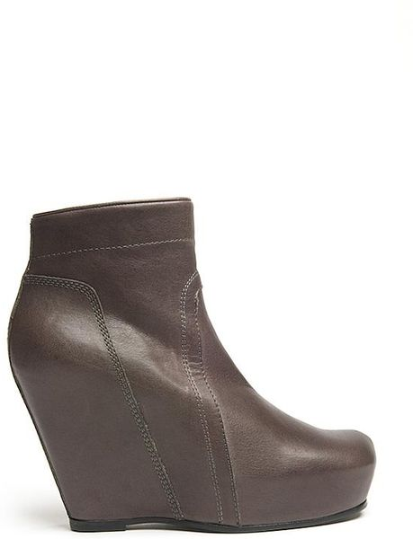 rick owens wedge ankle boot in gray grey lyst